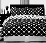 Bedding Duvet Cover Set and Pillowcases 3 piece Queen/Full Size (90''x92'') 100 Egyptian Cotton Modern Reversible Print Pattern Design Soft Luxury Black and White