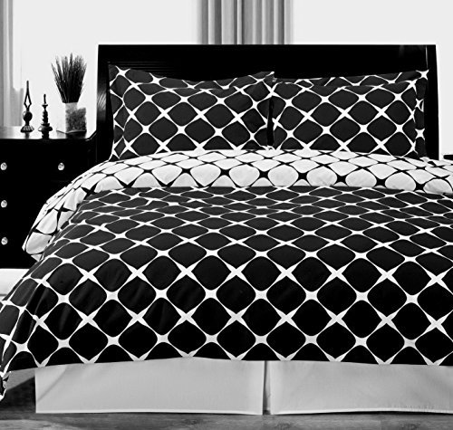 Duvet Cover Set Double Full Queen Size 100 Egyptian Cotton Black and White Modern Contemporary Geometric Pattern 3 Piece Reversible Bedding