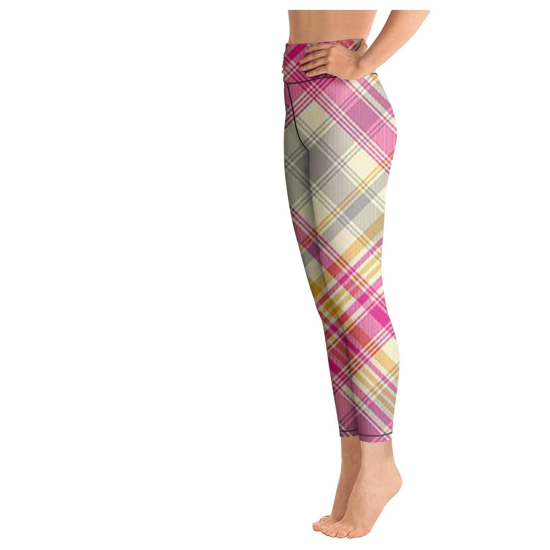 Junnanp Orange Check Pattern Yoga Pants for Women Girls Athletic High Waisted Leggings