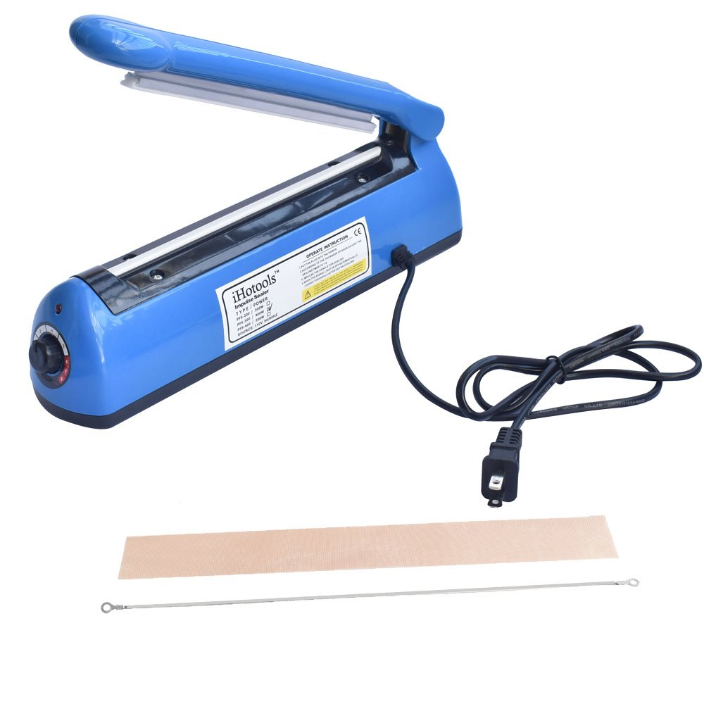 iHotools 12''(300mm) Upgraded Impulse Manual Hand Bag Sealer, Heat Sealing Machine, for Mylar and Cereal Bags Plastics Bags Polythene with Extra Replacement Element Grip Blue