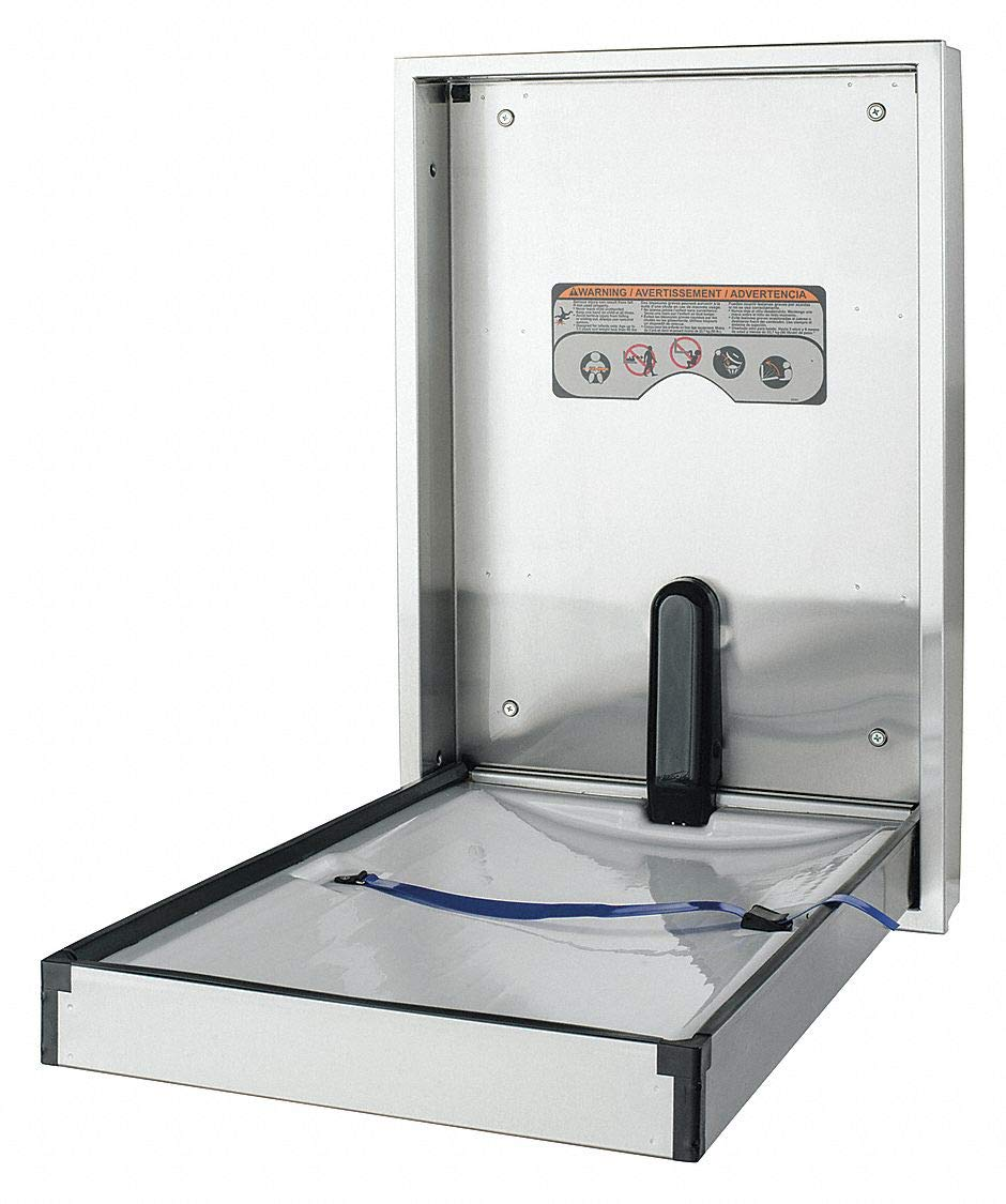 Baby Changing Station, Vertical, Flush Mount, 304 Stainless Steel, 16 ga.