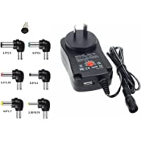 Helper 30W 100-240V to 3V,4.5V,5V,6V,7.5V,9V,12V 2A&2000mA Universal Adjustable AC/DC Charger Adaptor Switching Power Supply & 5V 2.1 A USB Port with 8 Selectable Adapter Tips