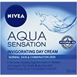 NIVEA Aqua Sensation Invigorating, Moisturising Day Cream with Hydra IQ & Cucumber Extracts for Normal & Combination Skin 50ml