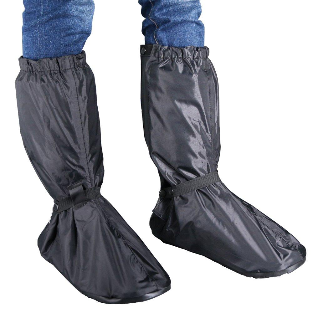Hilitchi Men Black Waterproof Rainstorm Rainy Day Rain suit Raingear Motorcycle Outdoor Protective Gear Rain Boot Shoe Cover Zipper US 10-11/Euro 44-45 (Black, US10-11/Euro44-45)