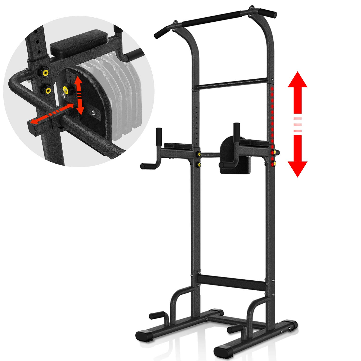 YouTen 700 lbs Rated Power Tower Multi-Function,Patent Backrest 3D Adjustable Pull Up Bar Free Standing for Home Fitness Workout Dip Station Height Range 74.4-95