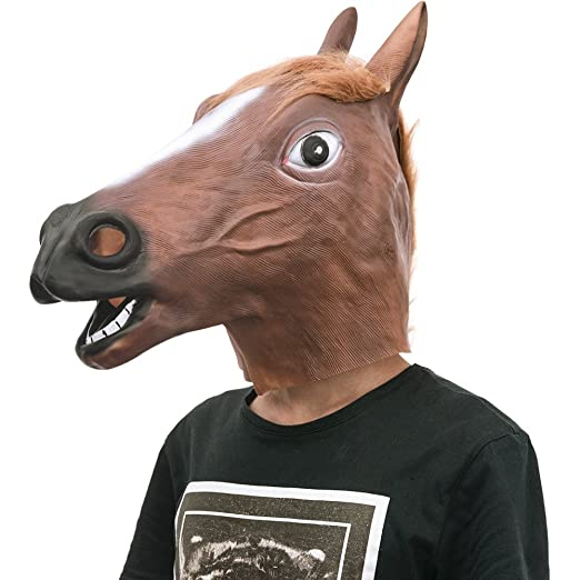 ankuka novelty halloween horse maskparty costume whole covered latex animal head mask for april