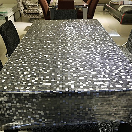 ColorBird Fashion 23 Gauge Clear PVC Plastic Tablecloth Waterproof/Oilproof Mosaic Checkes Durable Table Cover for Kitchen Dinning Tabletop Cover (54