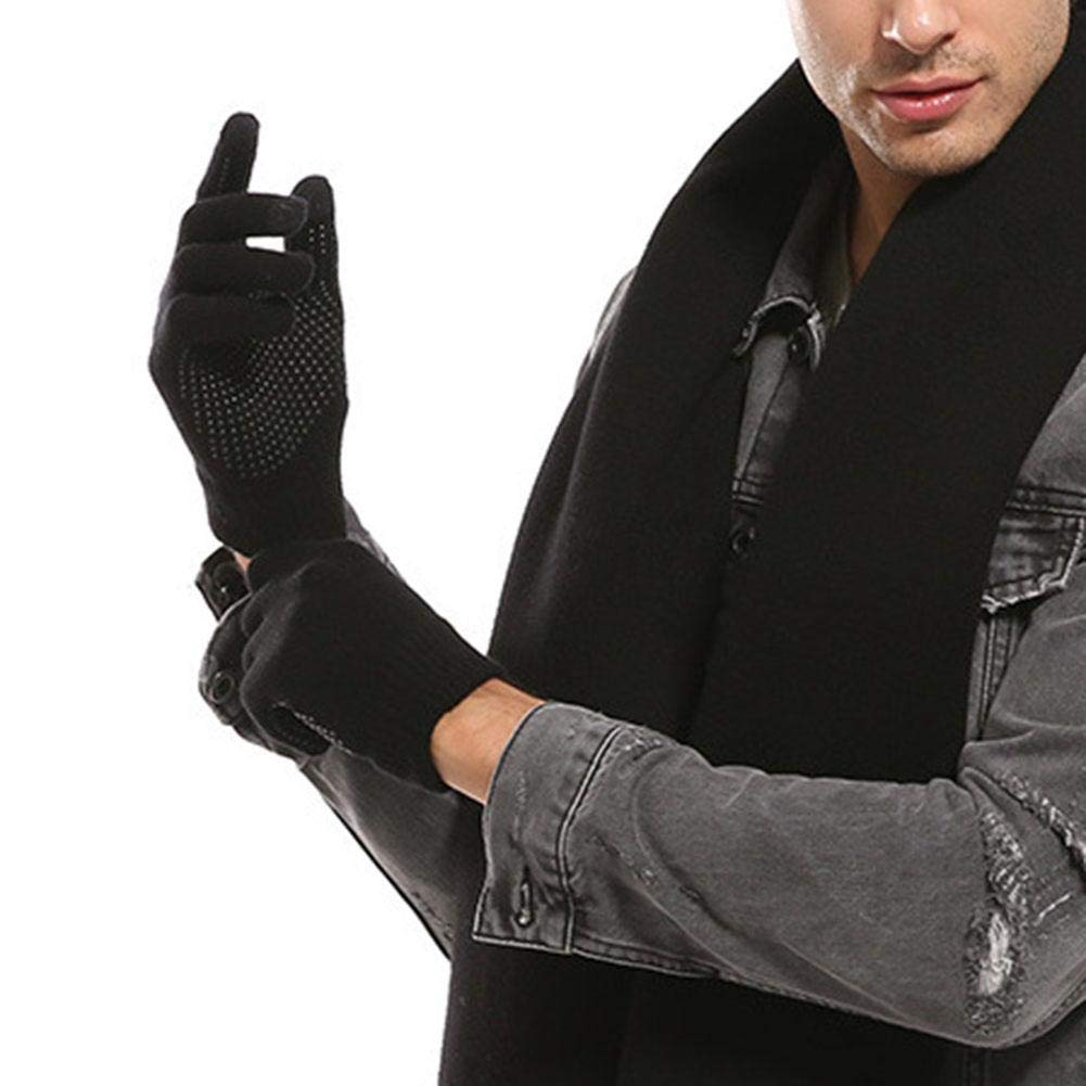Biback 1 Pair Warmer Gloves Non-slip Fleece-Lined Thickened Touch Screen Gloves