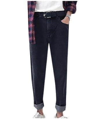 375aa96b9cfb Unastar Men Pure Color Loose-Fit Tapered Vintage Wash Hiphop Jeans L Black