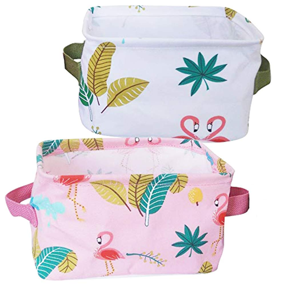 Foldable Small Cube Canvas Waterproof Toy Summer Theme Storage Bins with Handles,Cotton&Linen Fabric Storage Baskets Organizers Items for Shelves & Desks-Set of 2(Flamingo)