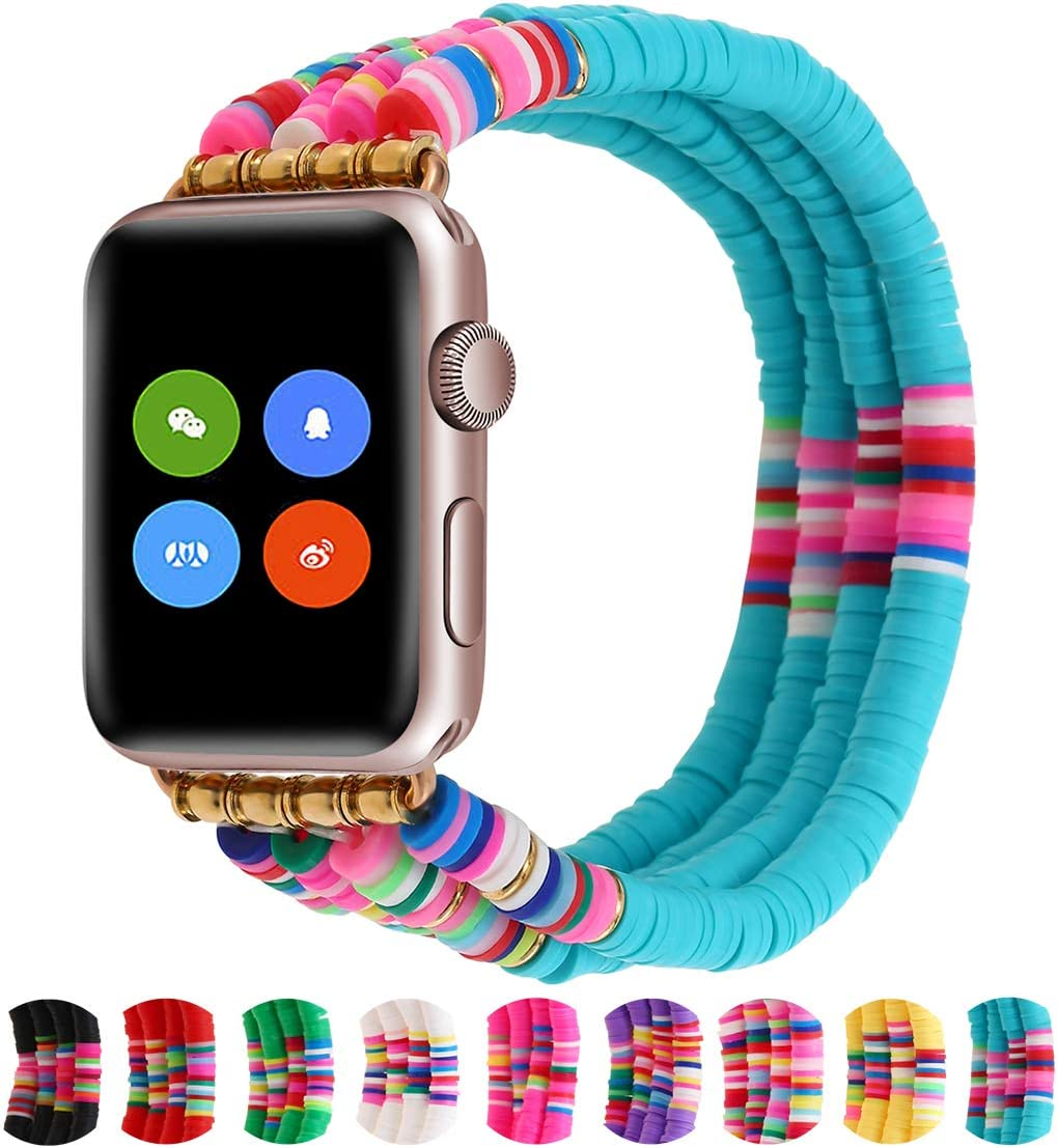 Bracelet Compatible with Apple Watch Bands 40mm/38mm Series 5/4 Women Girl, Cute Handmade Fashion Elastic Beaded Strap Compatible for Apple iWatch Series 3/2/1 (Lake Blue, 38/40)