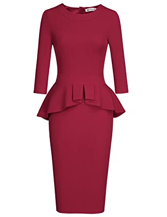 MUXXN Womens Elegant 3 4 Sleeves Tea Length Wedding Party Peplum Pencil  Dress (Burgundy eb9f49c34eb8