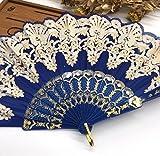Deep Blue Fashion Vintage Spanish Plastic Embroidered Hand Folding Women Girl Dancing Fan Home Decor Tools