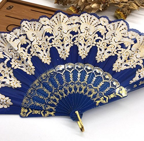 Deep Blue Fashion Vintage Spanish Plastic Embroidered Hand Folding Women Girl Dancing Fan Home Decor Tools