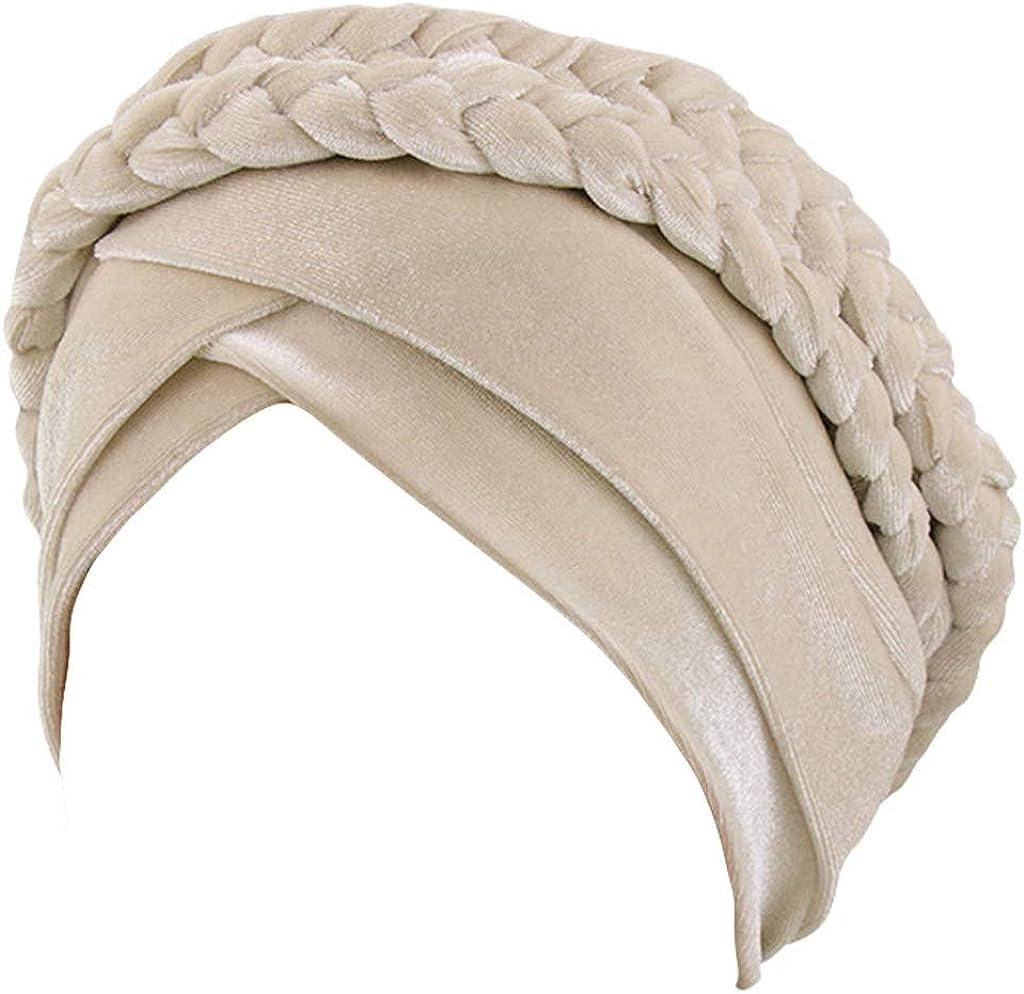 Chimio Cancer Miss Fortan Bonnet de Mode Femme Bonnet Musulmanes Chic Coiffe Foulard avec Cheveux Tress/és pour Perte de Cheveux