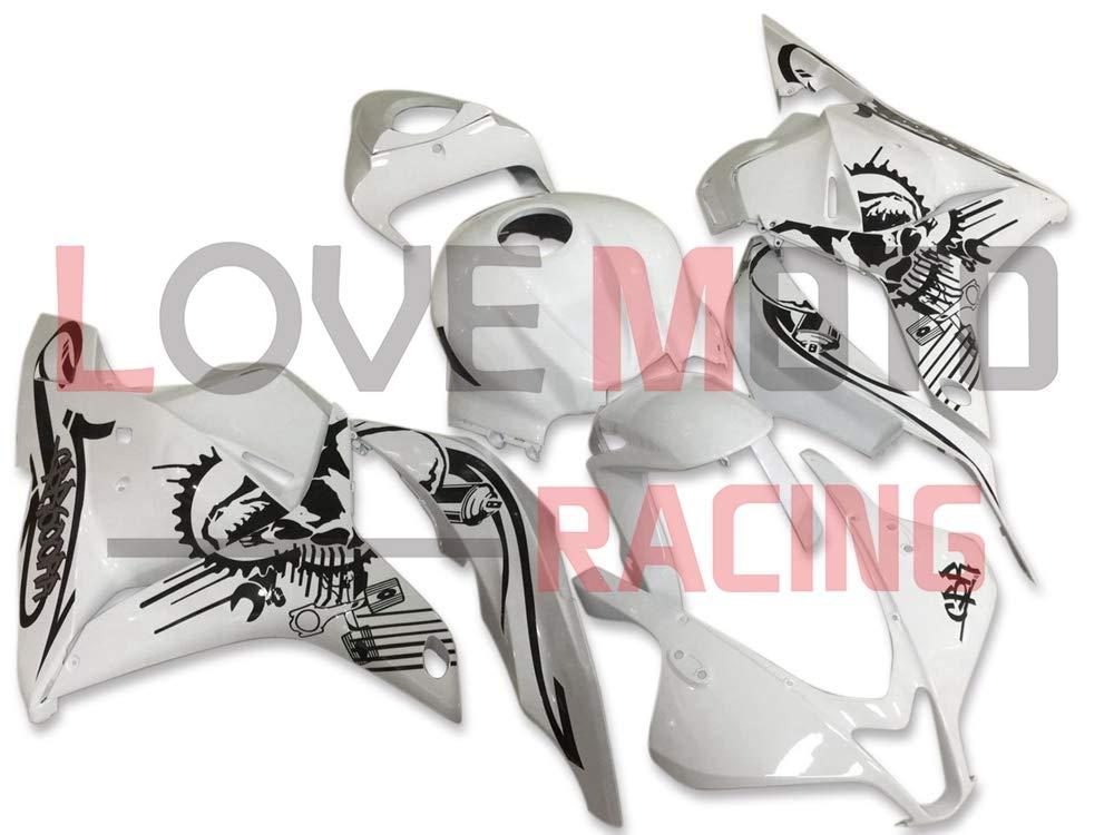 LoveMoto ブルー/イエローフェアリング ホンダ honda CBR600RR F5 2009 2010 2011 2012 09 10 11 12 CBR600 RR F5 ABS射出成型プラスチックオートバイフェアリングセットのキット ホワイト ブラック   B07KD5BDX7