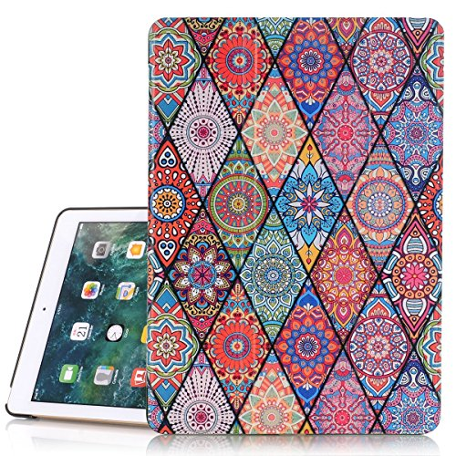 iPad 5 Case A1822/A1823, Hocase PU Leather Smart Case w/ Cute Flower Design, Auto Sleep Wake Feature, Microfiber Lining Hard Back Cover for Apple iPad 5th Generation 9.7-inch 2017 - Mandala