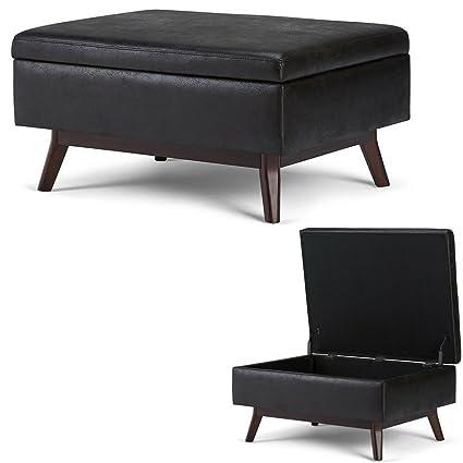 Remarkable Amazon Com Efd Mid Century Ottoman With Storage Black Faux Creativecarmelina Interior Chair Design Creativecarmelinacom