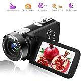 ビデオカメラ カムコーダー フルHD 1080p デジタルカメラ 24.0MP 18倍デジタルズーム 3.0インチLCD 液晶画面 270°回転 リモコン付き