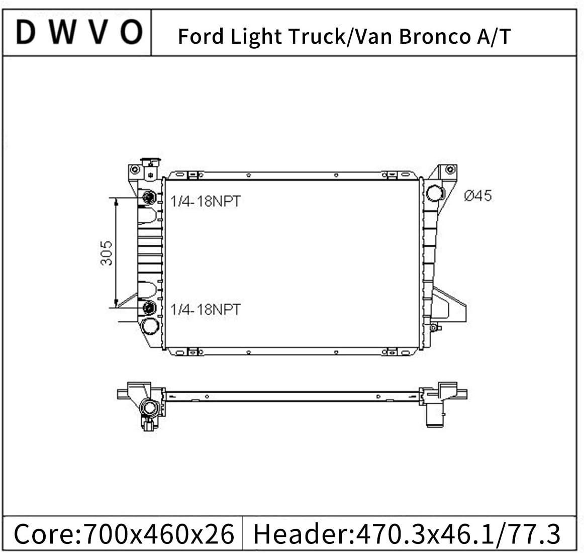 Radiator Compatible with Ford F-150 F-200 F-250 F-250 HD F-350 Bronco 5.0L 5.8L V8 DWRD1083