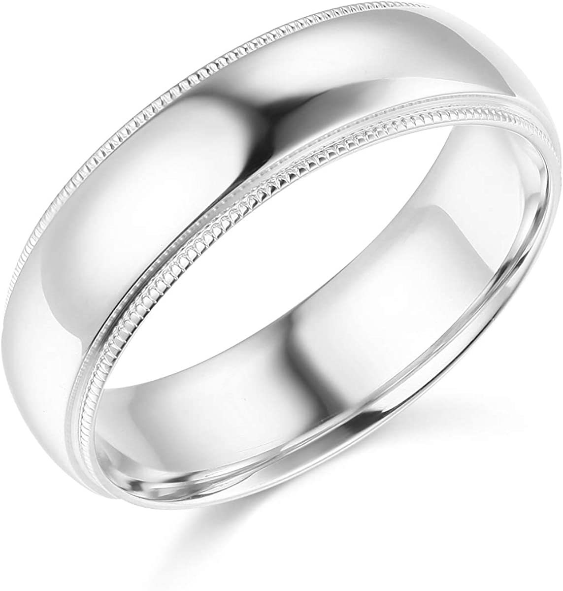 Wellingsale Mens 14k Yellow -OR- White Gold Solid 6mm COMFORT FIT Milgrain Traditional Wedding Band Ring