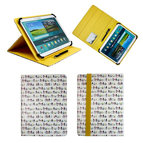 Emartbuy Universal 10-11 Inch Townhouses Multi Angle Folio Wallet Case Cover with Card Slots Yellow Elastic Strap and Stylus Pen Suitable for Selected Devices Listed Below ()