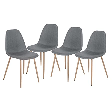 Merax Eames Style Fabric Dining Side Chairs with Metal Legs and Padded Seat Back Set of 4 Grey