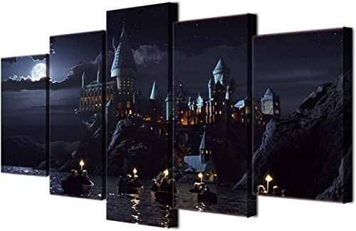 JESC Wall Decor School Castle Hogwarts Poster Landscape Canvas Wall Art Print Painting Framed and Stretched