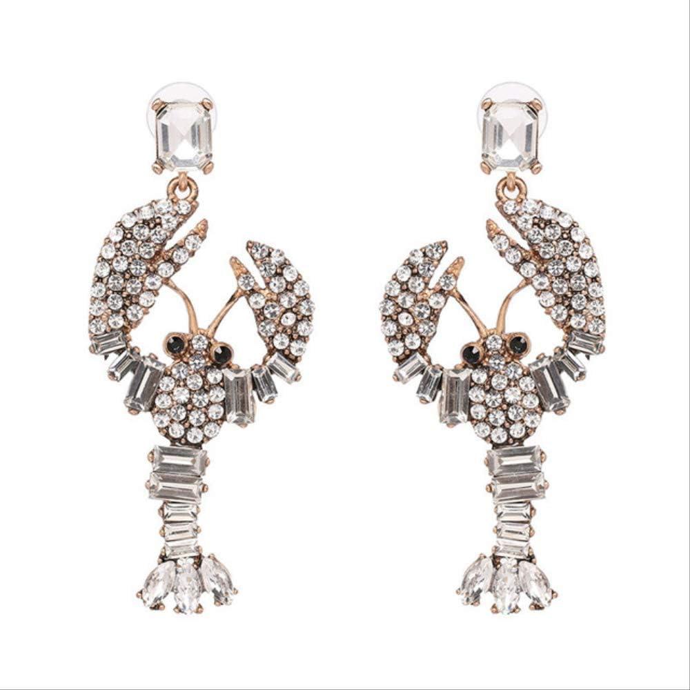 XJJJ Pendiente de perno prisionero Nuevas señoras Moda Abeja Pendientes de cristal Fiesta de moda Pendientes de diamantes de imitación51160-WH