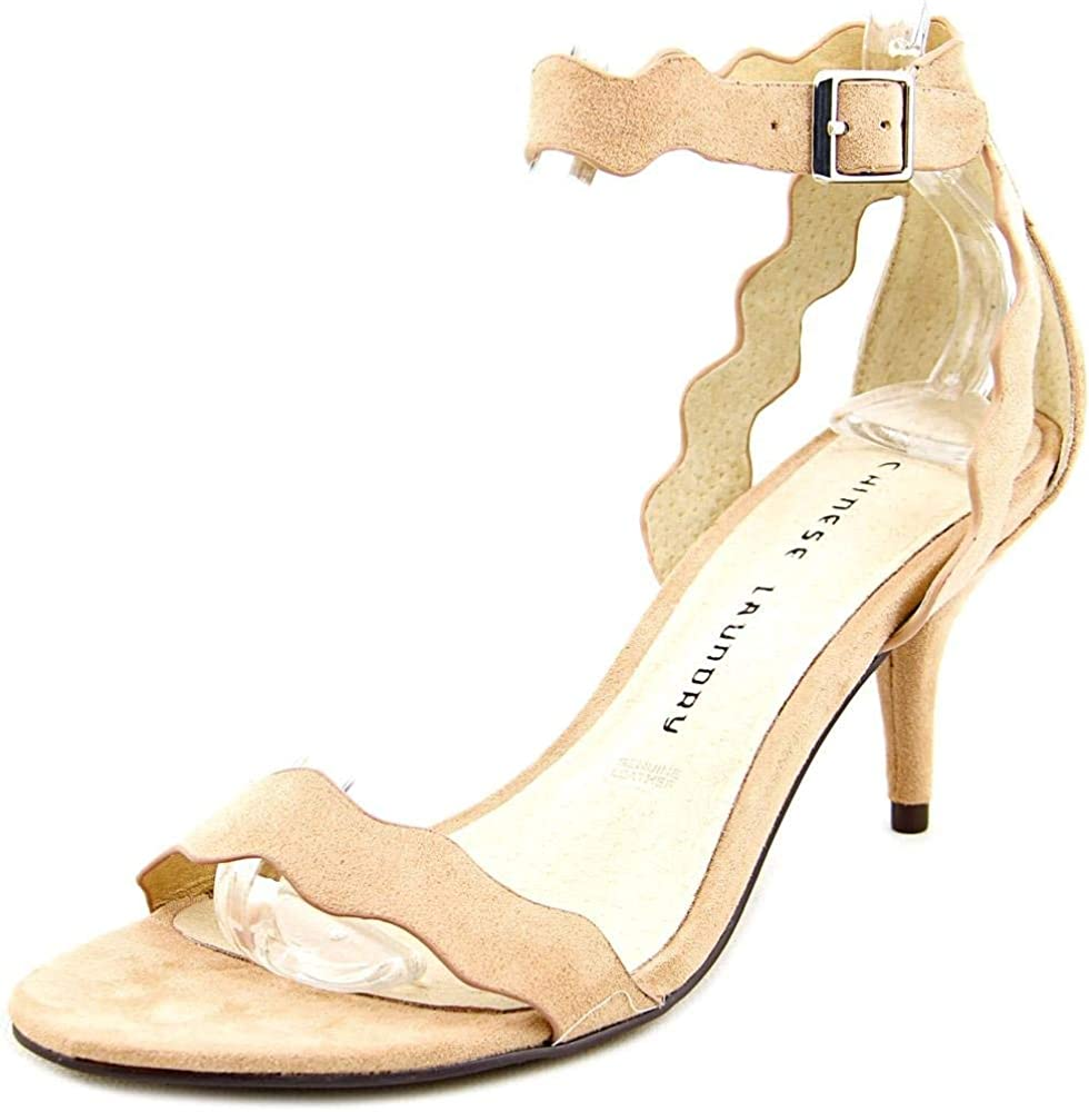 Chinese Laundry Womens Rosie Open Toe Ankle Strap Classic Pumps, Tan, Size 6.0