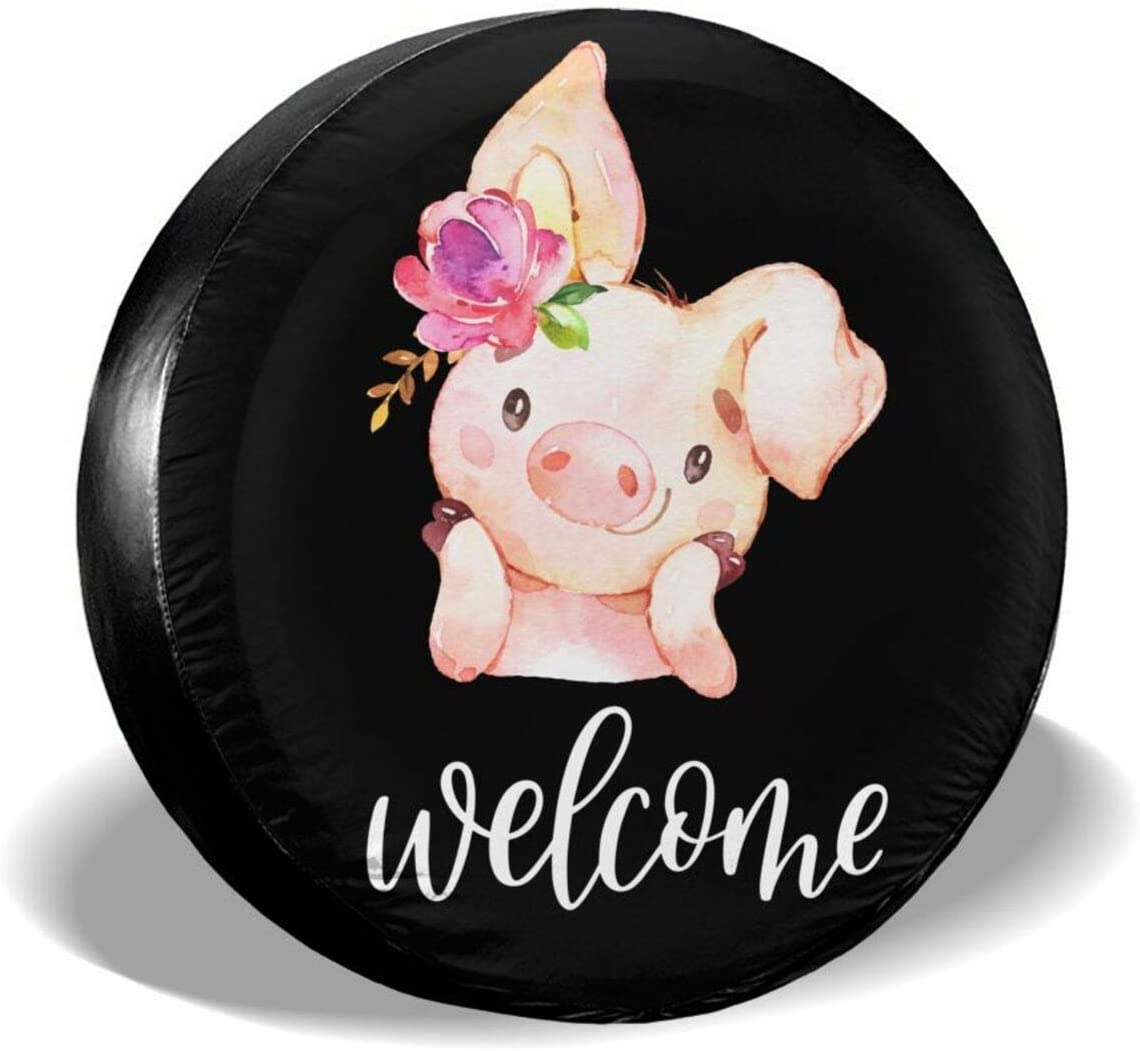 Spare Tire Covers Cute Little Pig With Floral Wreath Welcome Garden Flag Waterproof Wheel Covers Dust-Proof Tire Set Corrosion Proof Tire Cover Fit For Many Vehicle (14, 15, 16, 17 Inch)