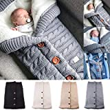 Newborn Baby Swaddle Blanket Stroller Wrap Plus Velvet, Yinuoday Baby Kids Toddler Thick Knit Soft Warm Fleece Blanket Swaddle Sleeping Bag Sleep Sack Stroller for Boys and Girls (Grey)
