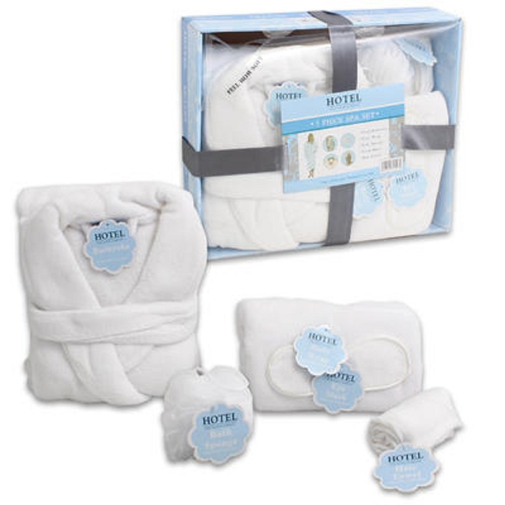 Hotel ' 5-piece Luxery Spa Gift Set : White Soft Plush bathrobe , Body wrap , Bath spong, Hair towel ,Sleep mask is the ultimate relaxation kit Unisex Great for Bridesmaid or Bridal shower