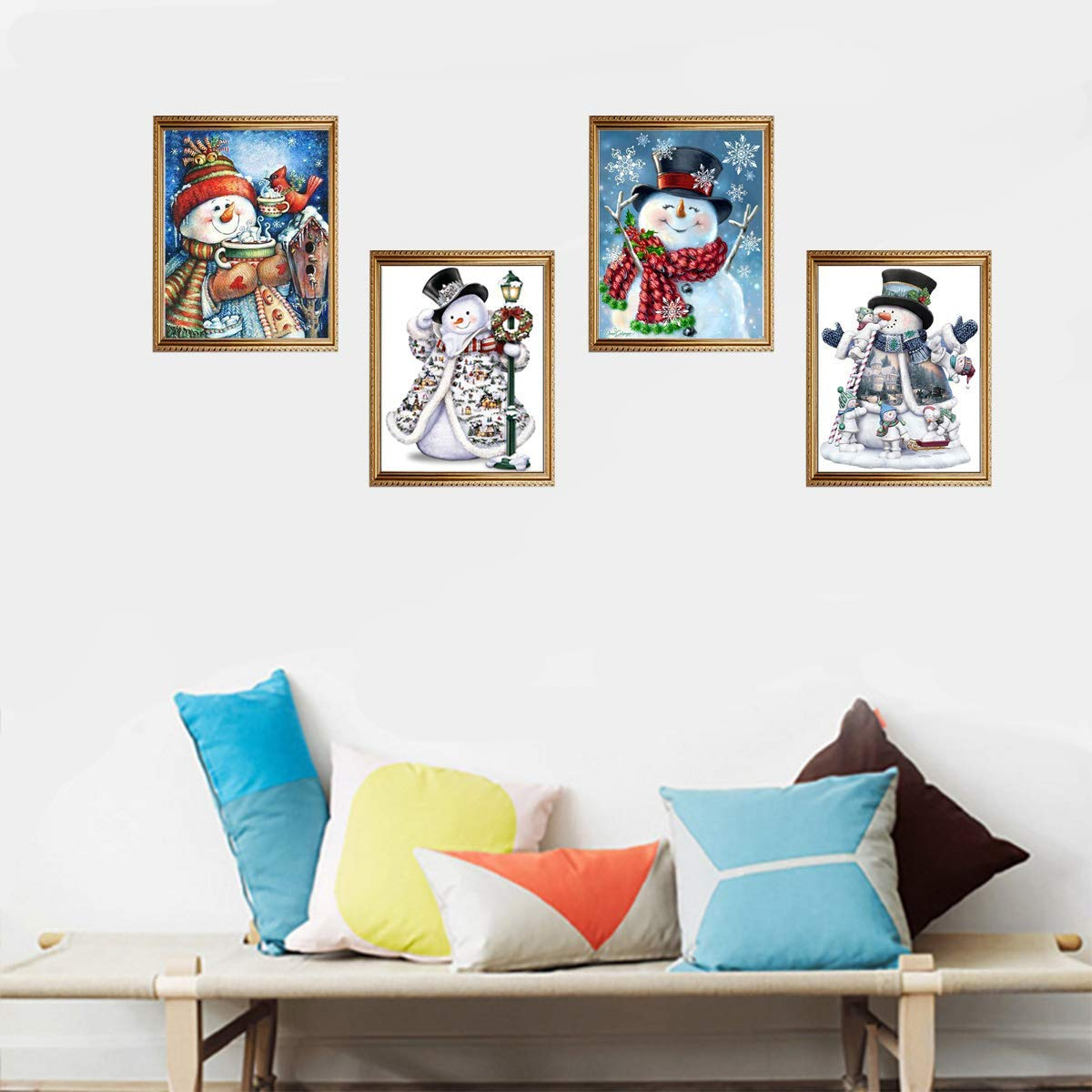 4 Pack 5D DIY Diamond Painting Kit Full Drill Wall Hanging Diamond Painting Set for Christmas Home Wall Living Room Decor Snowman 10.4/×14.4 inches//26/×36cm