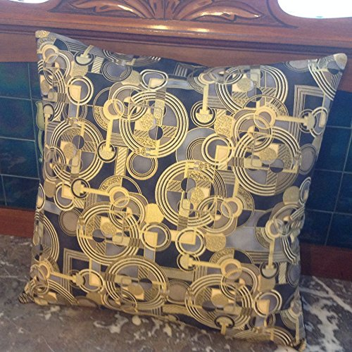 ART DECO Style Pillow, Black Gold Modern Mid-Century Pillows