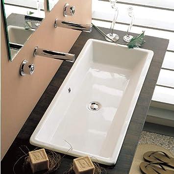 Scarabeo 8033 No Hole Gaia Rectangular Ceramic Self Rimming Vessel Sink White Sinks Amazon Com