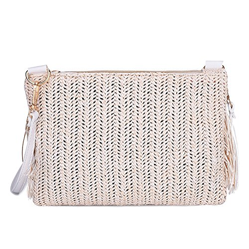 Leyorie Weave Hot Bag Tassels Shoulder Sales Handbag Womens Messenger Beige Crossbody Bag Fqn6pZnw5