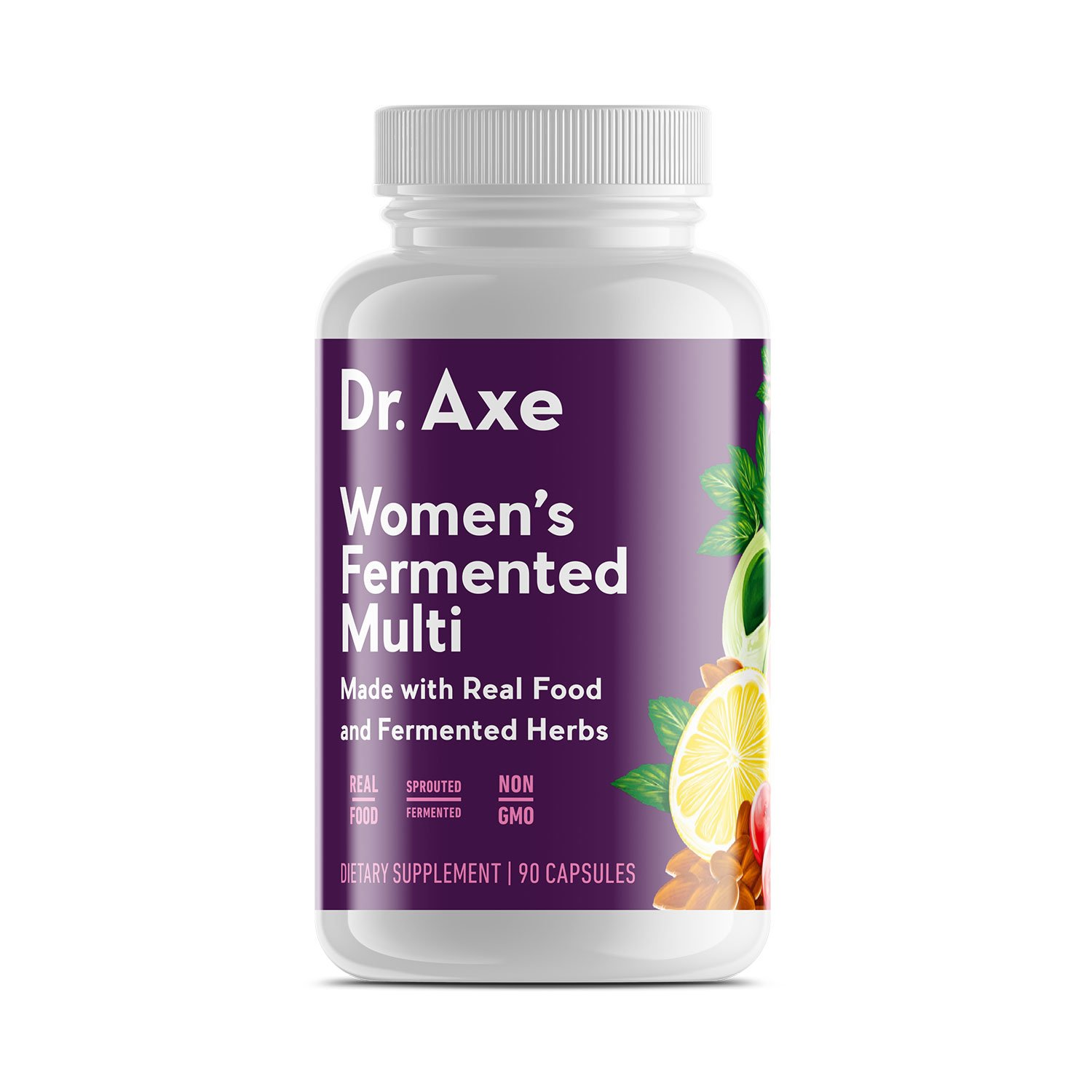 Dr. Axe Women's Multivitamin Supplement, 90 Capsules - Made with Real Food and Fermented Herbs