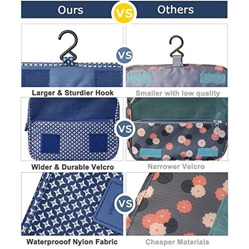 Heavy Duty Waterproof Hanging Toiletry Bag - Travel Cosmetic Makeup Organizer Bag for Women Girls Children Multifunction Travel Kit by Hokeeper (Image #3)