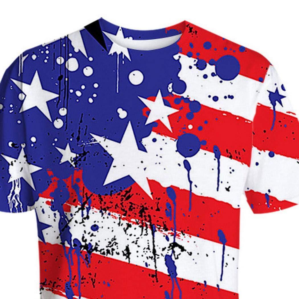 Redpol Men Casual O-Neck Short Sleeve Patchwork Pullover T-Shirt T-Shirts