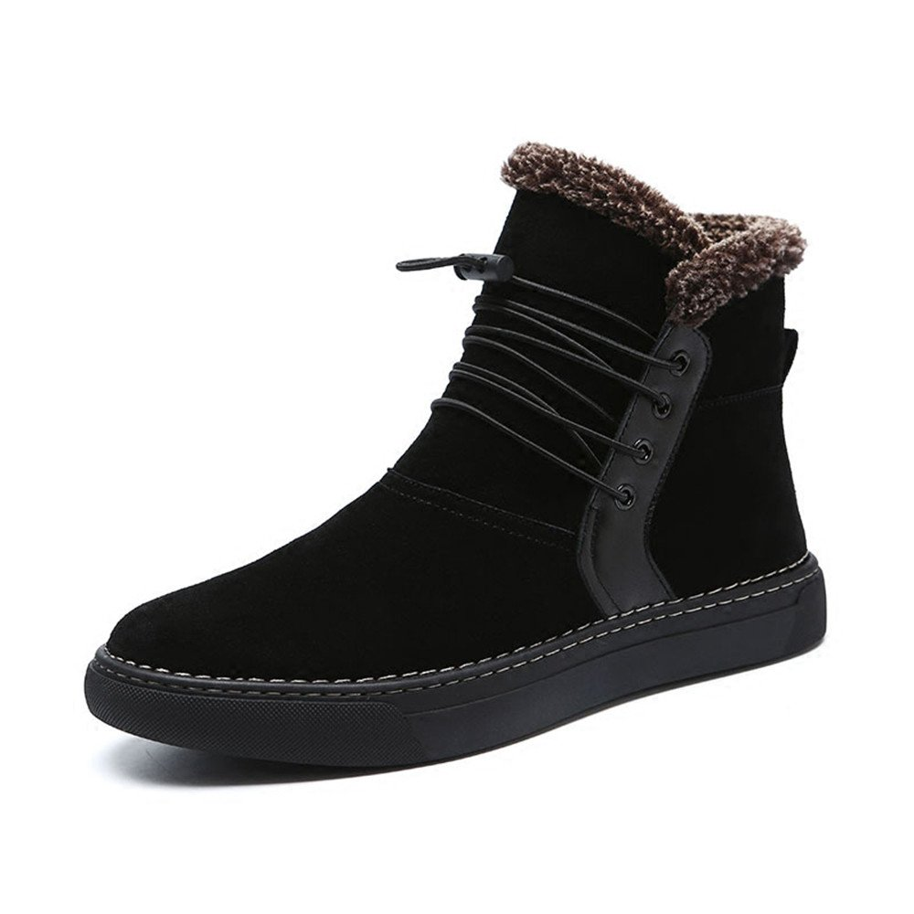 Men with high velvet warm winter boots all-match British short boots for Martin,39 black by ZRLsly (Image #1)