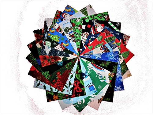 80 5'' Beautiful Christmas Charm Pack # 1- 20 DIFFERENT PRINTS-4 OF EACH #1 by Concord/RJR/Kaufman