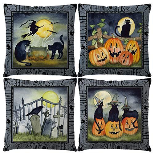 Black Cat Patterns Halloween (7ColorRoom Set of 4 Halloween Pillow Covers Midnight Party with Pumpkin Graves Witches Crows Black Cats Pattern Cushion Cover Vintage Happy Halloween Decorative Pillow Cases 18