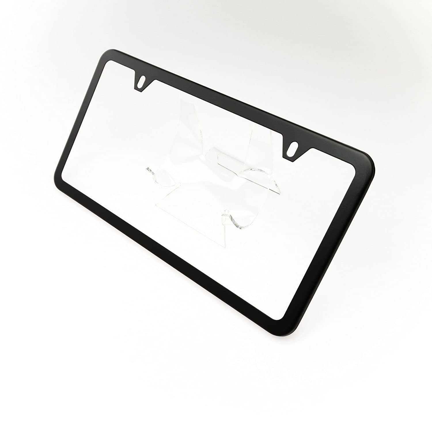 Amazon.com: Circle Cool Matte Black Powder Coated Stainless Steel License Plate Slim Two Hole Frame Holder Bracket: Automotive