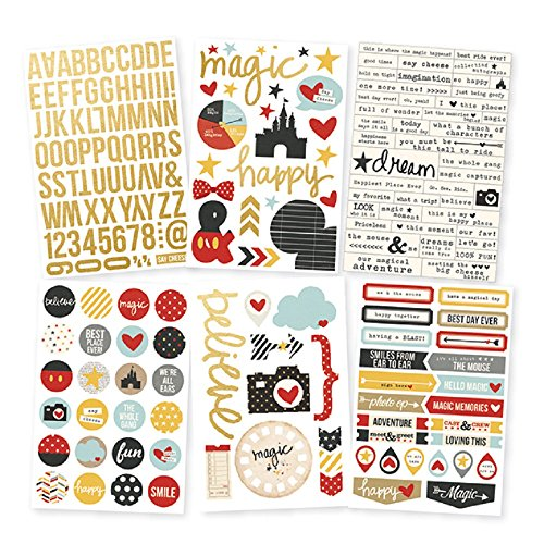 Disney Stickers For Scrapbooking - Simple Stories Say Cheese II Foil Stickers Sheets (6 Pack), Gold