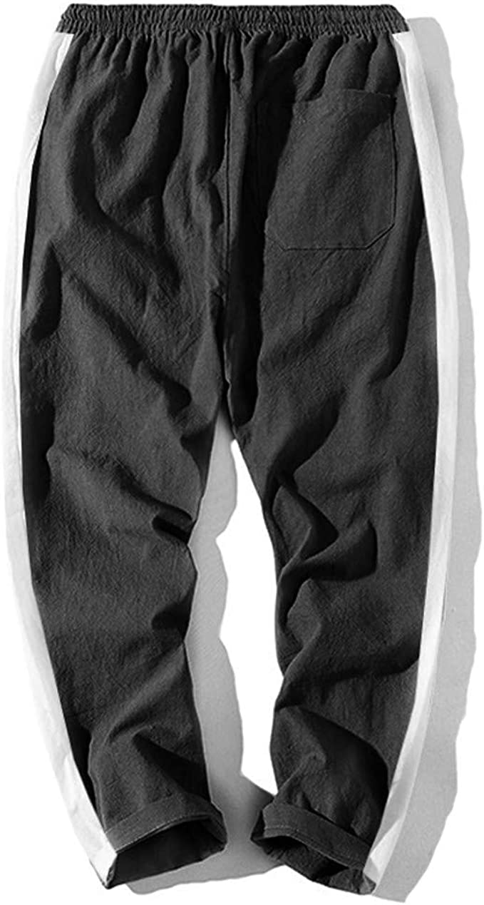 pipigo Mens Stylish Elastic Waist Zip-Up Jogger Drawstring Athletic Sweatpants