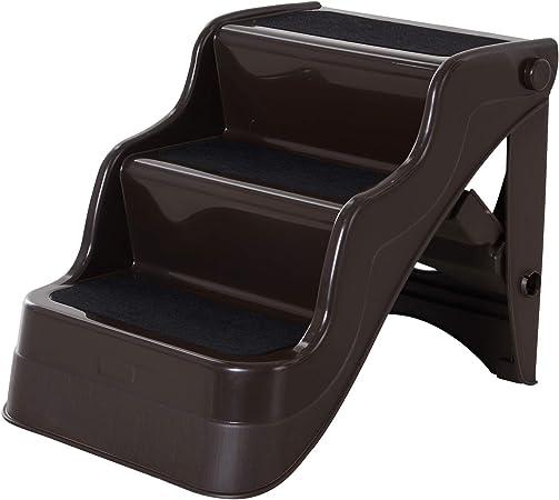 PawHut Escalera Plegable para Perros y Gatos 3 Peldaños Plástico PP 49 × 39 × 39 cm Marrón: Amazon.es: Productos para mascotas