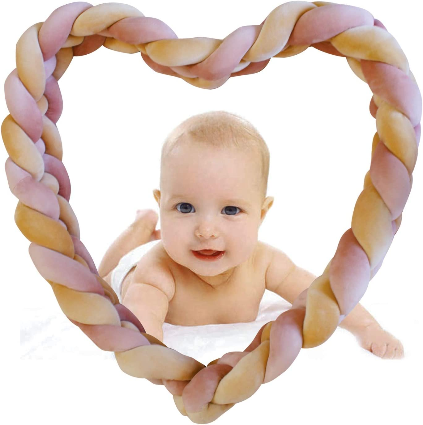 Color : Beige+White+gray+warmpink, Size : 220CM Vinggood Cot Bumper Braid Pillow Baby Head Guard Bumper Knot Braid Pillow Cushion for Baby Bed