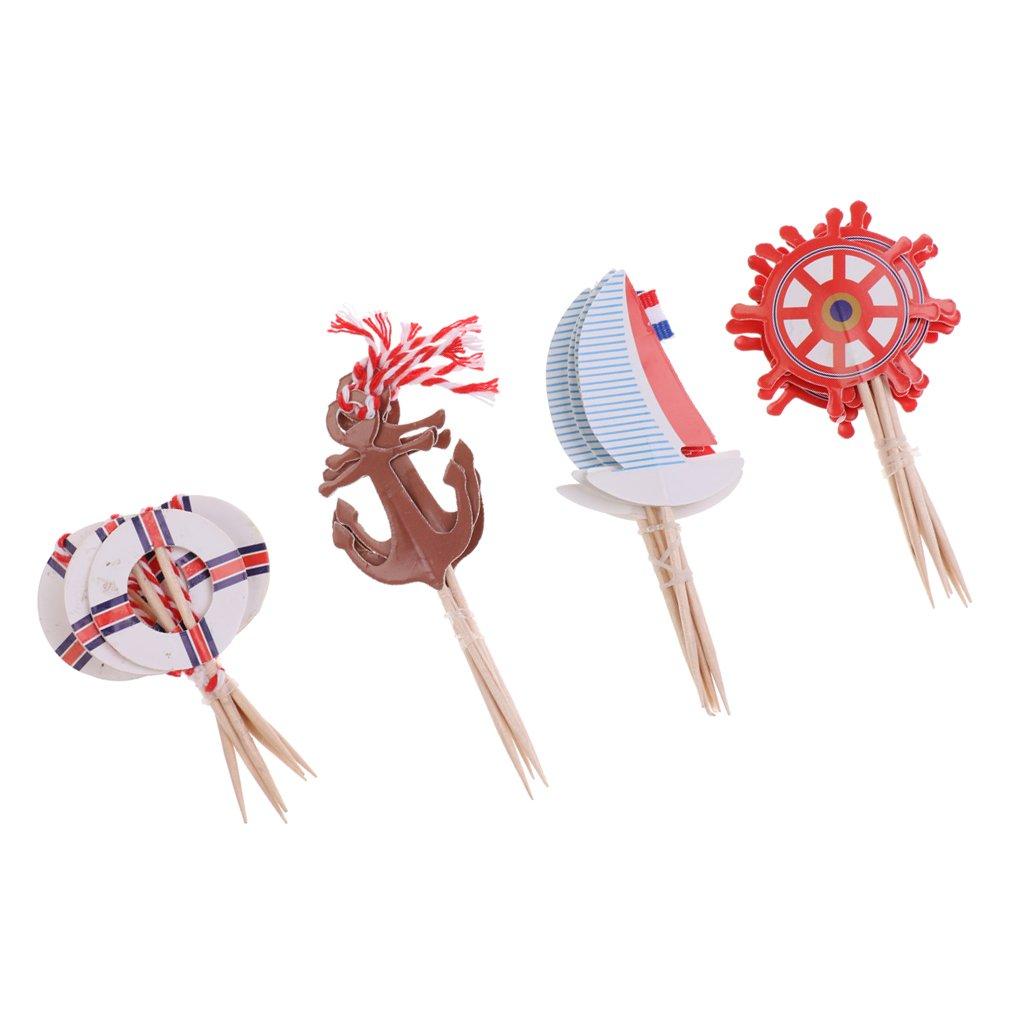 MonkeyJack 24 Pieces Nautical Style Paper Cupcake Picks Cake Topper Party Cake Decor