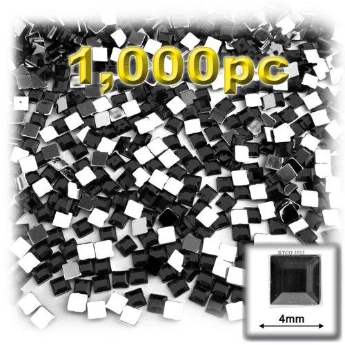 工芸のアウトレット1000-pieceフラットバックスクエアラインストーン、4mm、ジェットブラック